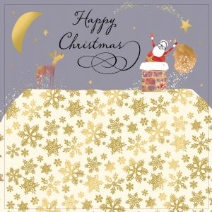 Santa Delivering Presents, Christmas Card with Gold Foiling, Contemporary Design and Red Envelope KIS1